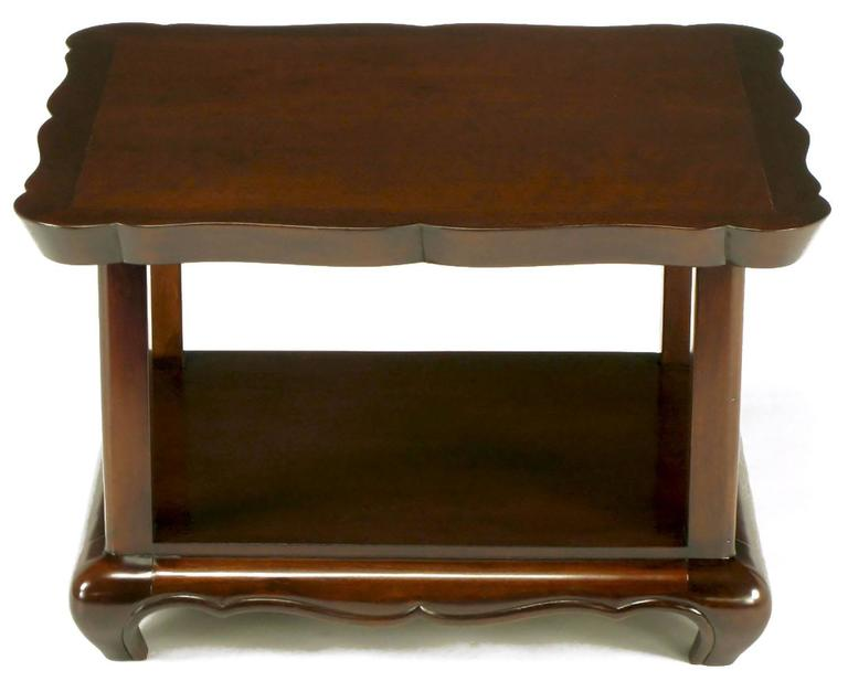 Mid-20th Century Pair of Walnut End Tables with Scalloped Edge Tops For Sale