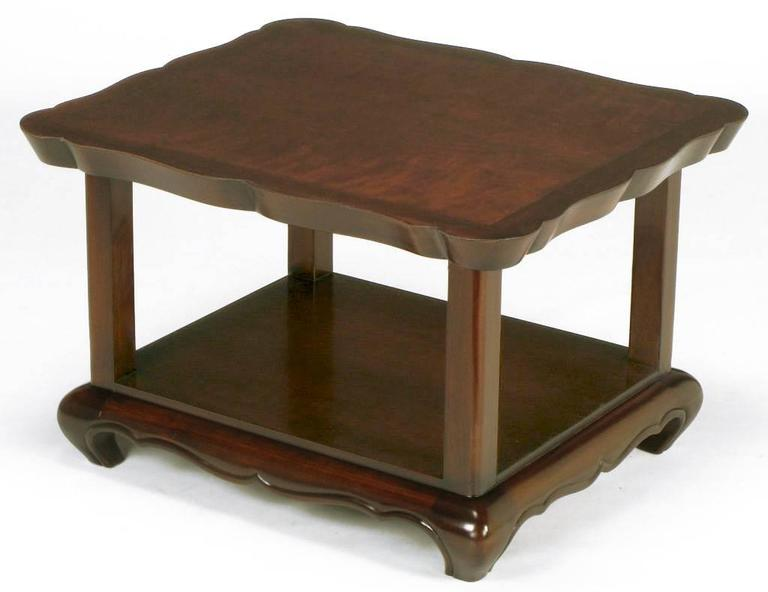 Pair of Walnut End Tables with Scalloped Edge Tops In Excellent Condition For Sale In Chicago, IL