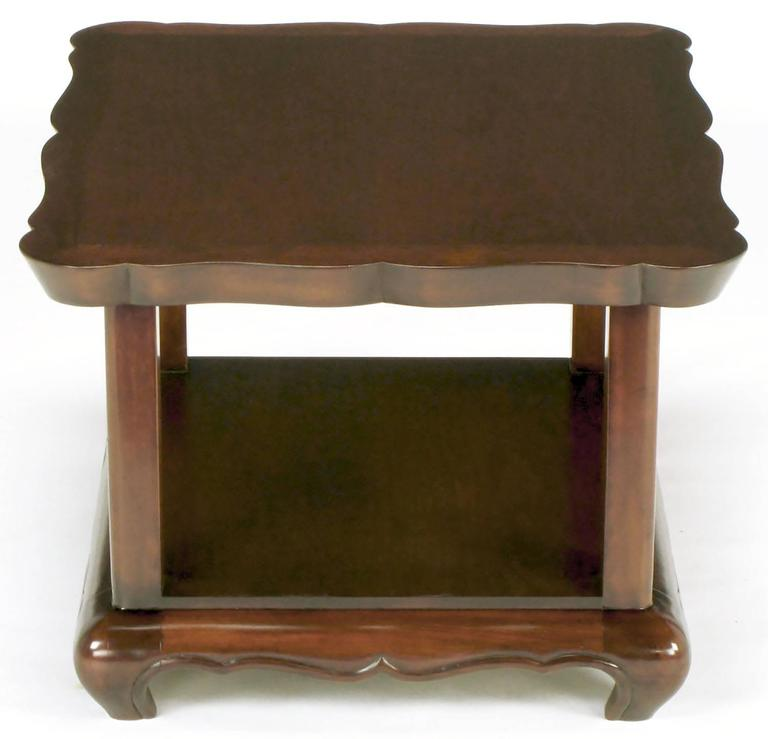 American Pair of Walnut End Tables with Scalloped Edge Tops For Sale