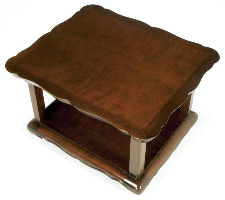Pair of Walnut End Tables with Scalloped Edge Tops For Sale 1