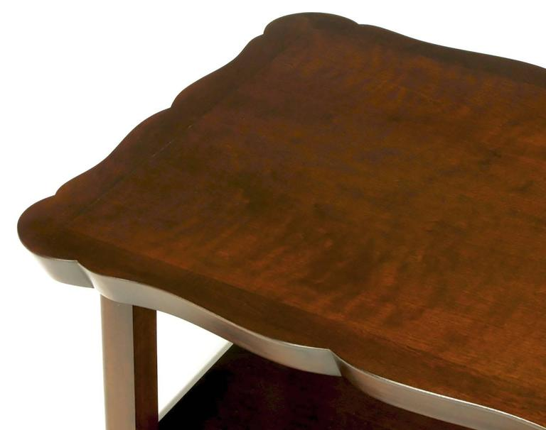 Pair of Walnut End Tables with Scalloped Edge Tops For Sale 3