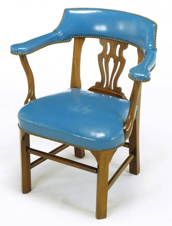 American Pair of Barnard & Simonds Blue Leather and Mahogany Armchairs For Sale