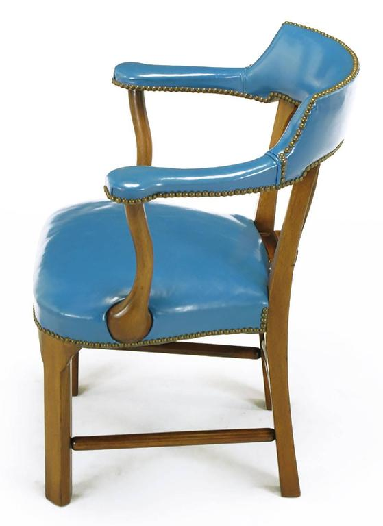 Pair of Barnard & Simonds Blue Leather and Mahogany Armchairs In Good Condition For Sale In Chicago, IL
