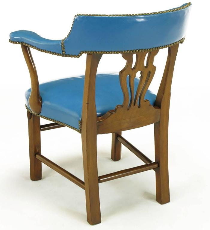 Mid-20th Century Pair of Barnard & Simonds Blue Leather and Mahogany Armchairs For Sale