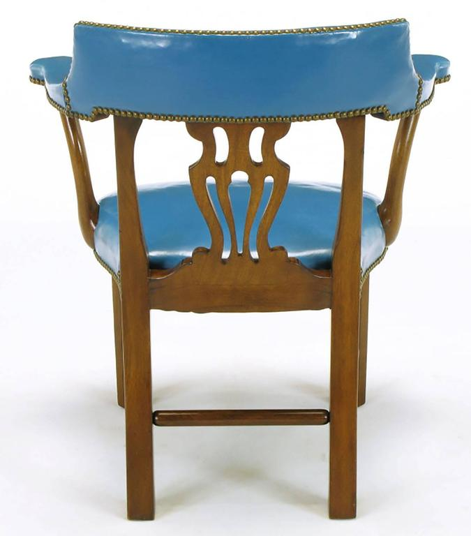 Brass Pair of Barnard & Simonds Blue Leather and Mahogany Armchairs For Sale