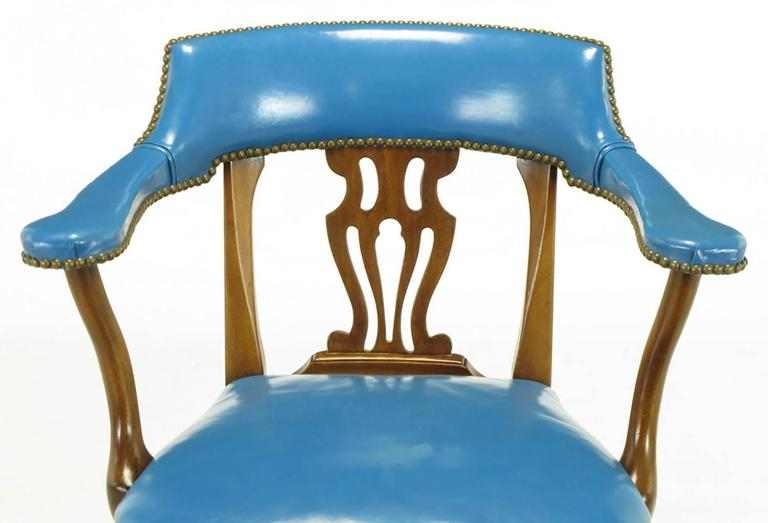 Pair of Barnard & Simonds Blue Leather and Mahogany Armchairs For Sale 1