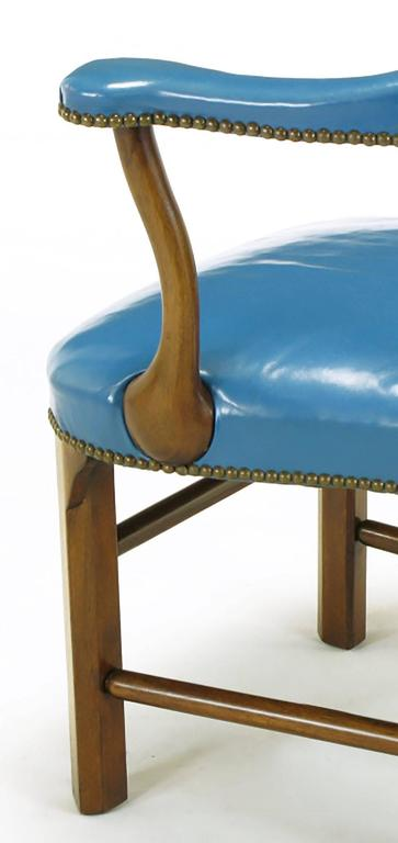 Pair of Barnard & Simonds Blue Leather and Mahogany Armchairs For Sale 2