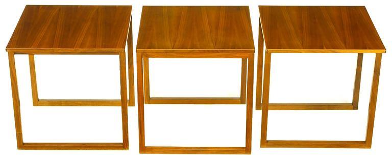 Trio of Kai Kristiansen Nesting Cube Tables in Teak For Sale 1