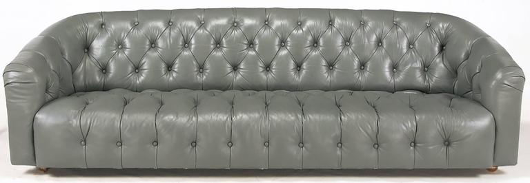 American Baker Slate Grey Button Tufted Leather Sofa For Sale