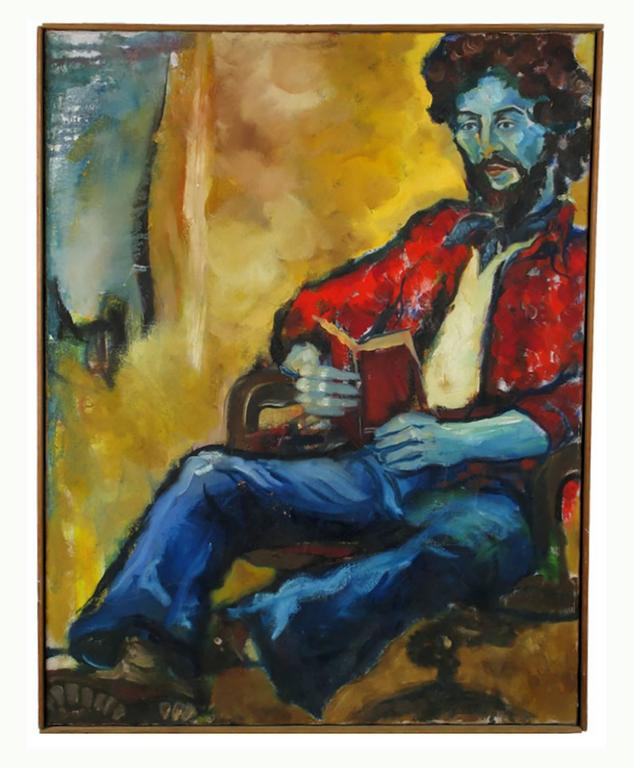 Expressionist portrait of a bearded young man in a red shirt and blue jeans, reading from a book. Signed An Hua Hsiung in verso. Rustic wood frame.