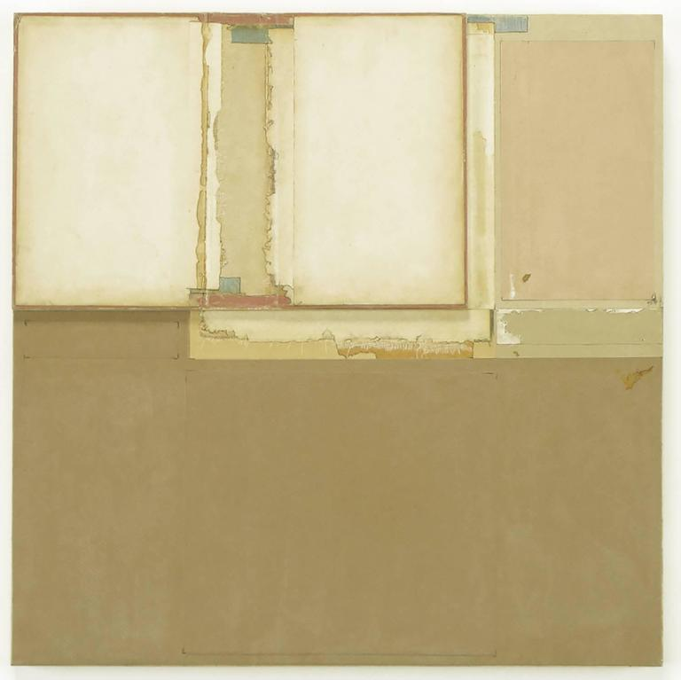 John Fraser (1952-), three dimensional art collage on board with an open and pageless book, tape, acrylic paint and multilayered paper. Nicely backed and mounted. Titled