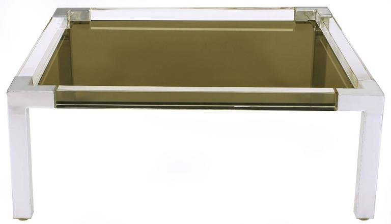 American Chrome and Lucite Coffee Table with Smoked Glass Top For Sale