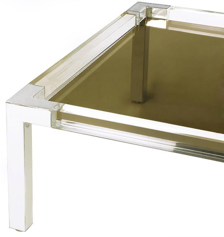 Chrome and Lucite Coffee Table with Smoked Glass Top In Good Condition For Sale In Chicago, IL