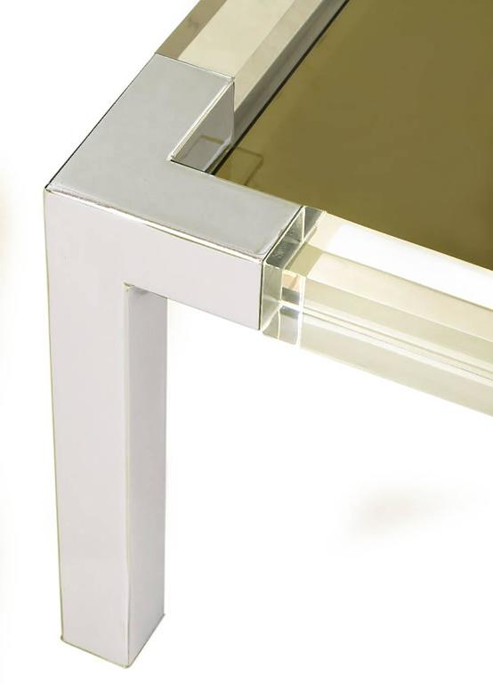 Chrome and Lucite Coffee Table with Smoked Glass Top For Sale 1