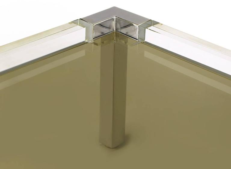 Late 20th Century Chrome and Lucite Coffee Table with Smoked Glass Top For Sale