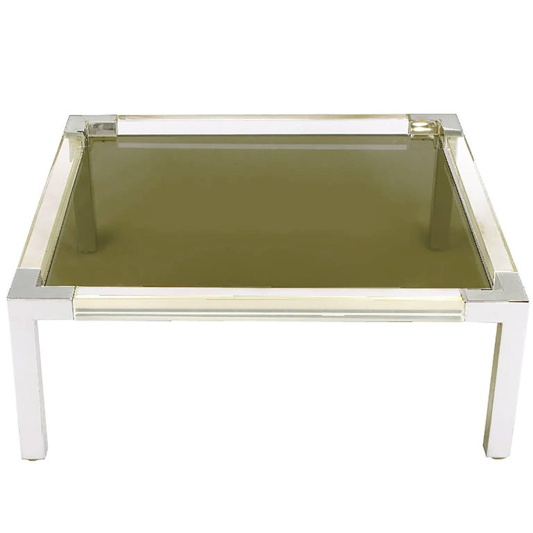 Chrome and Lucite Coffee Table with Smoked Glass Top For Sale