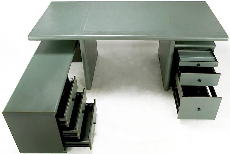 Italian Mariani for Pace Grey-Green Leather Executive Desk and Credenza For Sale