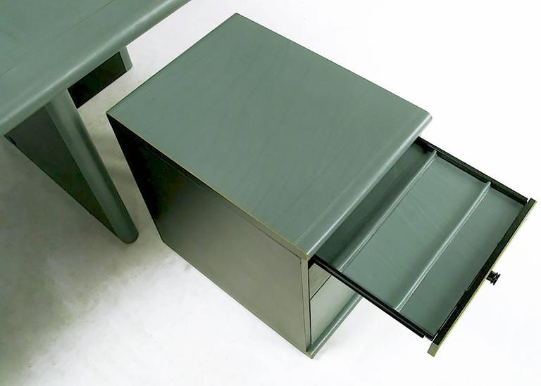 Late 20th Century Mariani for Pace Grey-Green Leather Executive Desk and Credenza For Sale