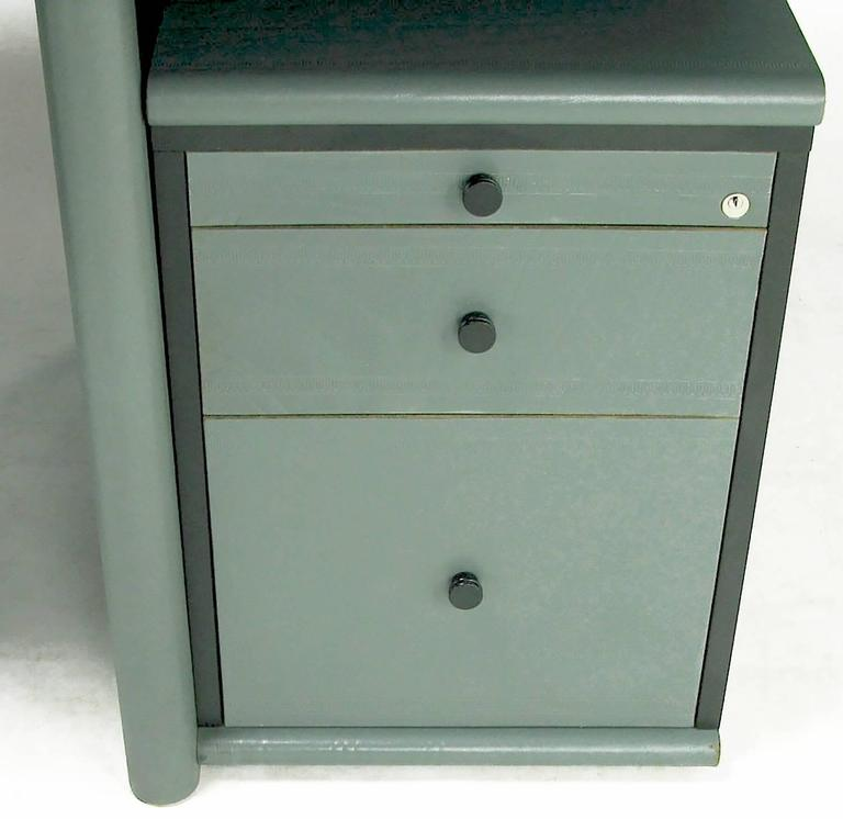 Mariani for Pace Grey-Green Leather Executive Desk and Credenza In Good Condition For Sale In Chicago, IL