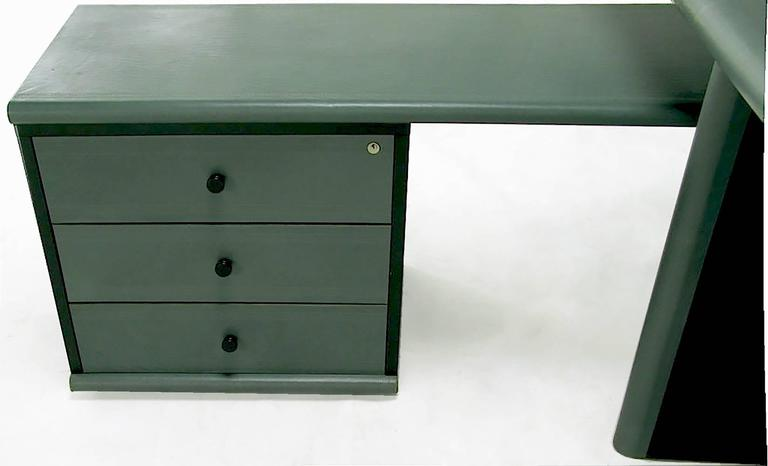 Mariani for Pace Grey-Green Leather Executive Desk and Credenza For Sale 1