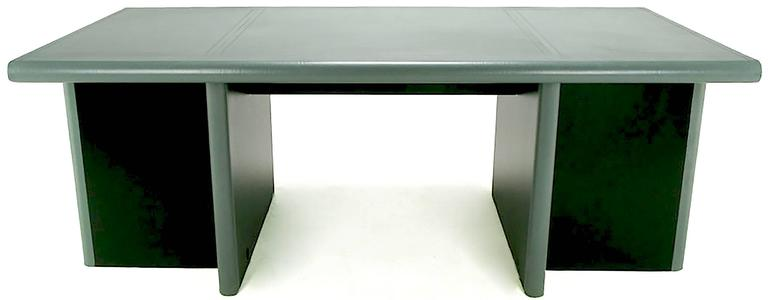 Mariani for Pace Grey-Green Leather Executive Desk and Credenza For Sale 3