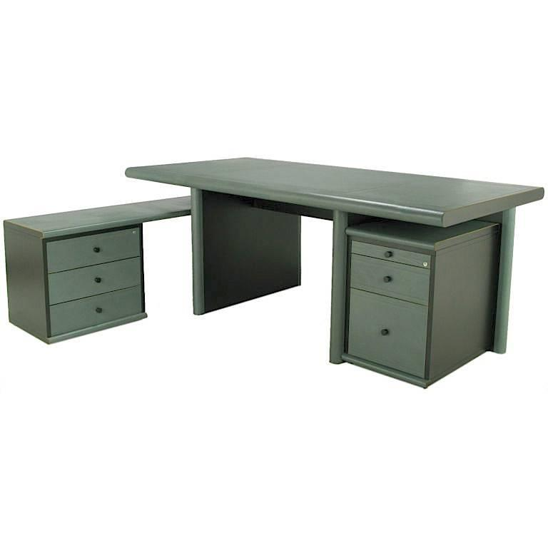 Mariani for Pace Grey-Green Leather Executive Desk and Credenza