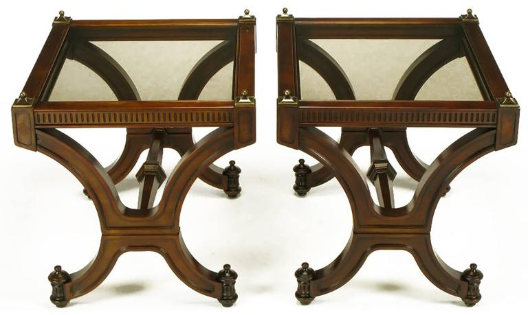 Pair of Mahogany and Glass Empire Style End Tables with Brass Finials For Sale 5