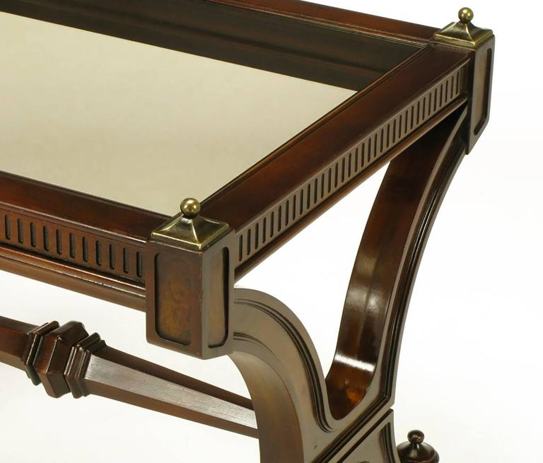 Pair of Mahogany and Glass Empire Style End Tables with Brass Finials For Sale 3