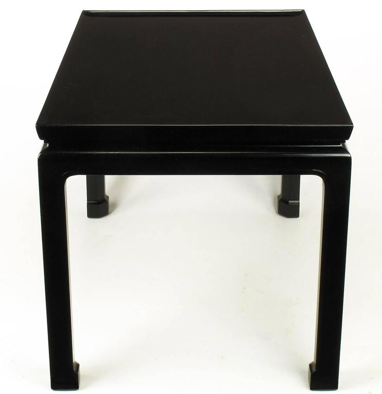 American Saybolt & Cleland Ebonized Ming-Style Turned-Edge Side Table For Sale