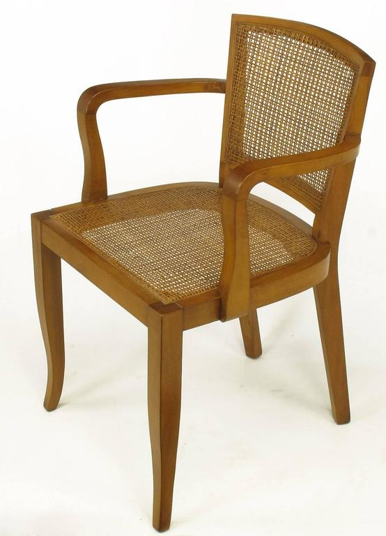 American Four Classic Cherrywood and Cane Armchairs in the Style of Baker For Sale