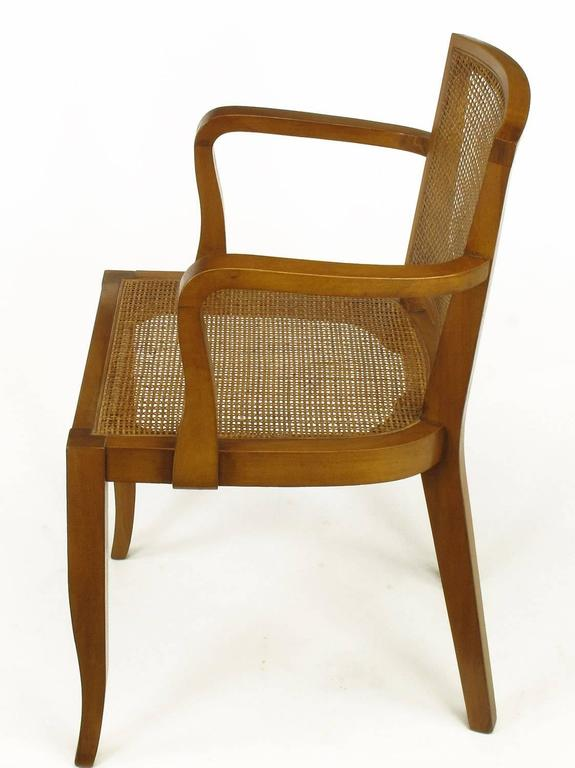 Four Classic Cherrywood and Cane Armchairs in the Style of Baker In Good Condition For Sale In Chicago, IL