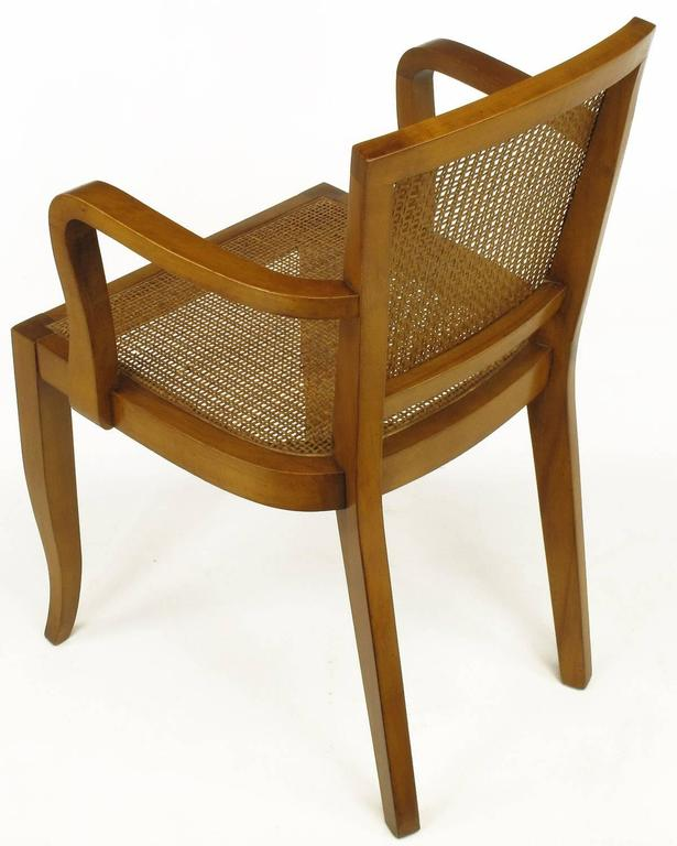 Mid-20th Century Four Classic Cherrywood and Cane Armchairs in the Style of Baker For Sale