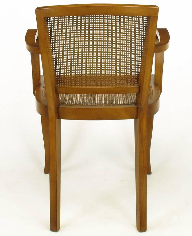 Four Classic Cherrywood and Cane Armchairs in the Style of Baker For Sale 1