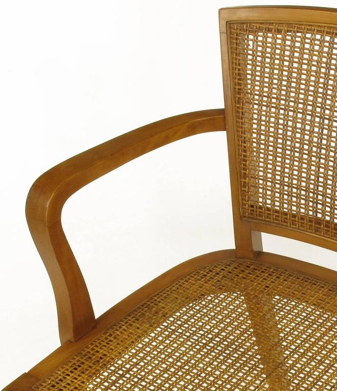 Four Classic Cherrywood and Cane Armchairs in the Style of Baker For Sale 2