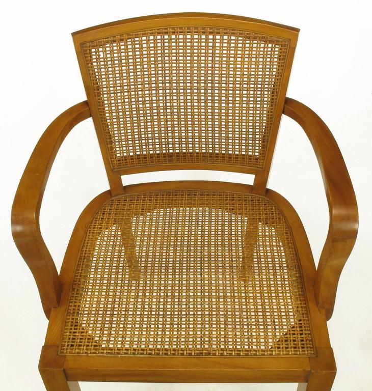 Four Classic Cherrywood and Cane Armchairs in the Style of Baker For Sale 3