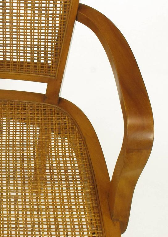 Four Classic Cherrywood and Cane Armchairs in the Style of Baker For Sale 4