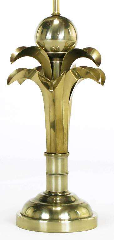 Pair of Art Deco Revival Gold Metal Palm Tree Table Lamps In Good Condition For Sale In Chicago, IL