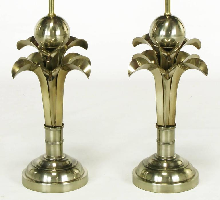 American Pair of Art Deco Revival Gold Metal Palm Tree Table Lamps For Sale