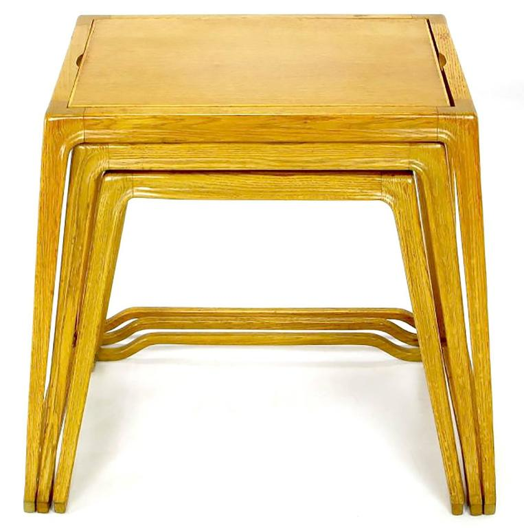 American Trio of Harold Schwartz White Oak Nesting Tray Tables for Romweber For Sale