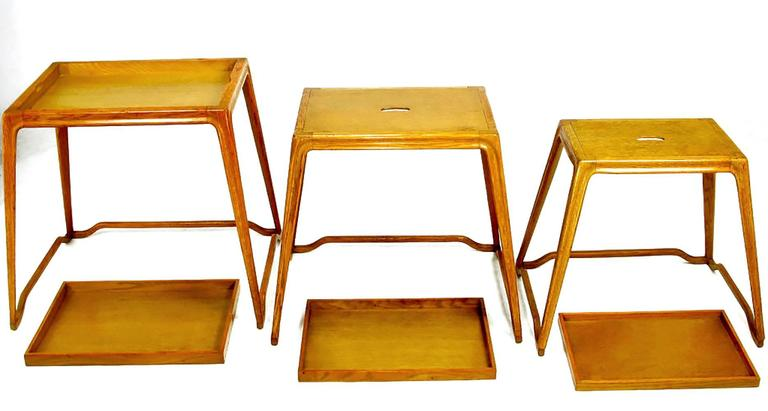 Trio of Harold Schwartz White Oak Nesting Tray Tables for Romweber For Sale 3