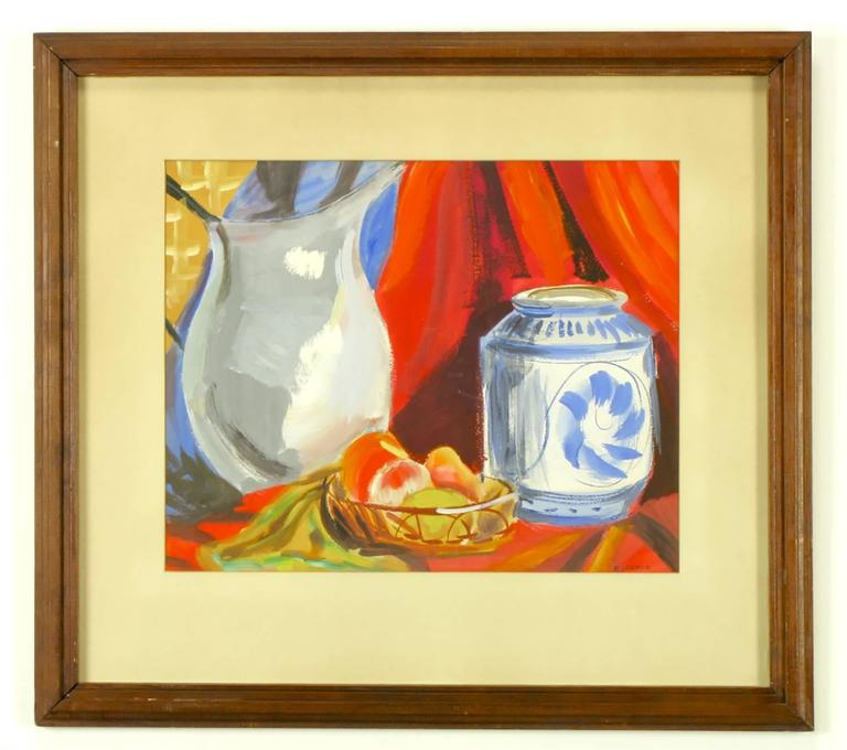 Vibrantly colored still life featuring a pitcher, a ceramic container and fruit in a wire bowl. Matted and framed, signed Hoffman.