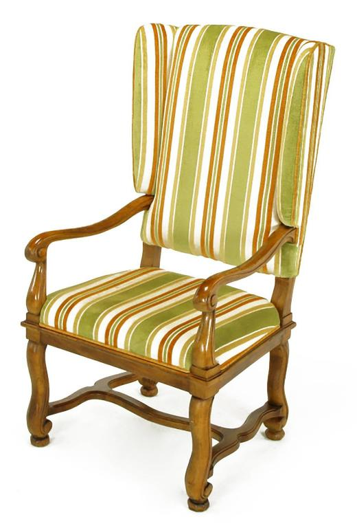 Mid-20th Century Pair of Heritage Walnut and Striped Velvet Louis XIV Wing Chairs For Sale