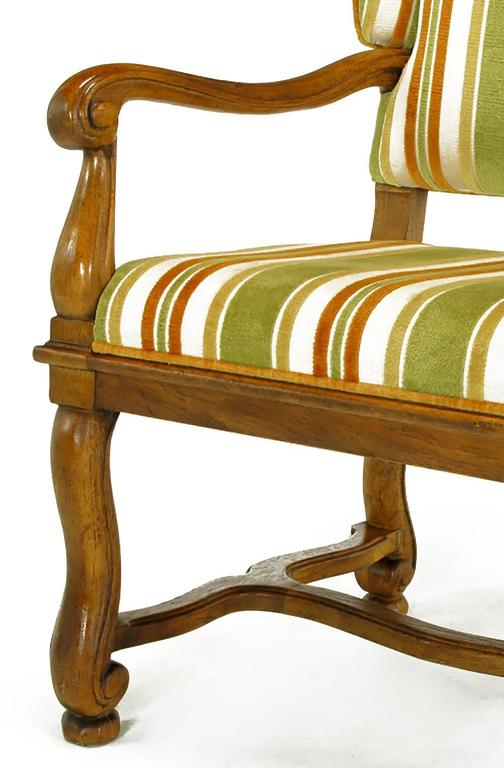 Pair of Heritage Walnut and Striped Velvet Louis XIV Wing Chairs For Sale 3