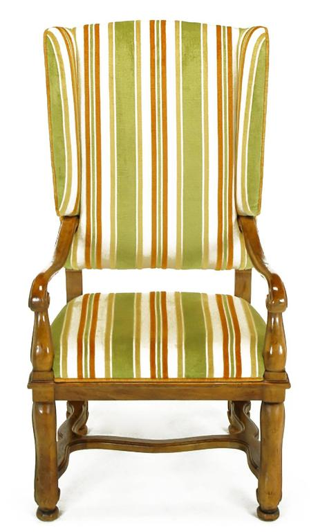 Pair of Heritage Walnut and Striped Velvet Louis XIV Wing Chairs In Good Condition For Sale In Chicago, IL