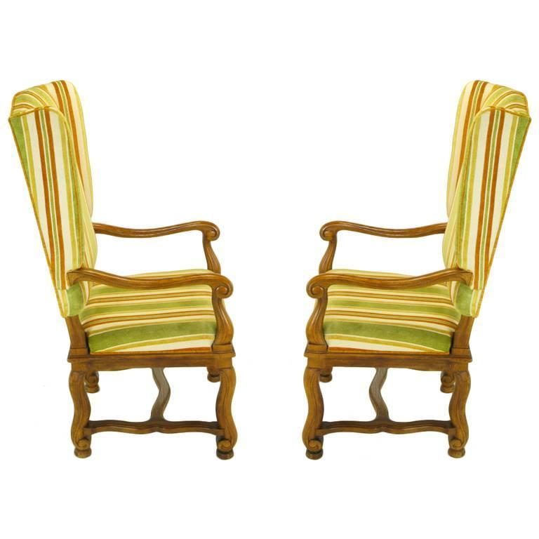 American Pair of Heritage Walnut and Striped Velvet Louis XIV Wing Chairs For Sale