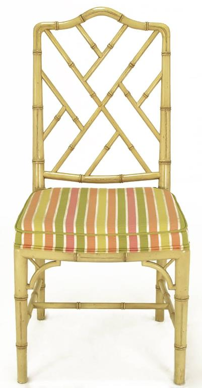 American Four Kindel Ivory Lacquer Chinese Chippendale Dining Chairs For Sale
