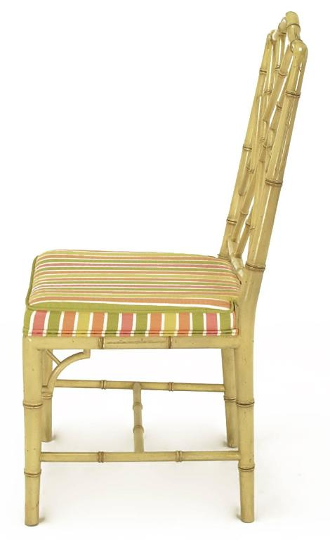 Late 20th Century Four Kindel Ivory Lacquer Chinese Chippendale Dining Chairs For Sale