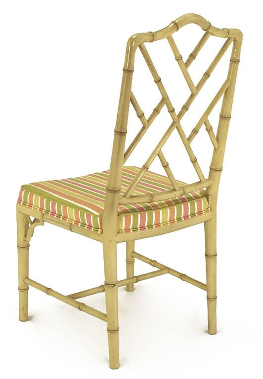 Wood Four Kindel Ivory Lacquer Chinese Chippendale Dining Chairs For Sale