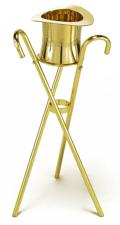 Brass Top Hat Champagne Cooler on Brass Cane Tripod Stand In Good Condition For Sale In Chicago, IL
