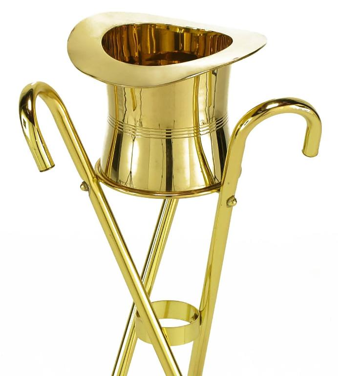 Brass Top Hat Champagne Cooler on Brass Cane Tripod Stand For Sale 3